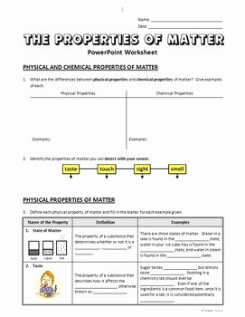 Properties Of Matter Worksheet Answers Unique Properties Of Matter Powerpoint Worksheet Editable by