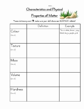 Properties Of Matter Worksheet Beautiful Science Properties Of Matter Worksheet by Walter S World