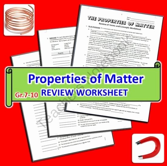 Properties Of Matter Worksheet Beautiful the Properties Of Matter Review Worksheet From Tangstar