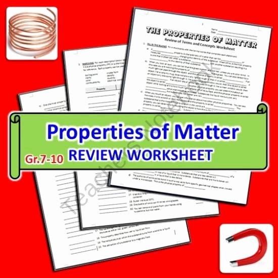 Properties Of Matter Worksheet Beautiful the Properties Of Matter Review Worksheet From Tangstar