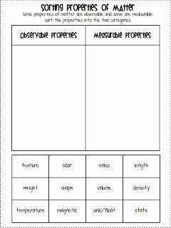 Properties Of Matter Worksheet Best Of 3 6 Free Resources Properties Of Matter Chart & sorting