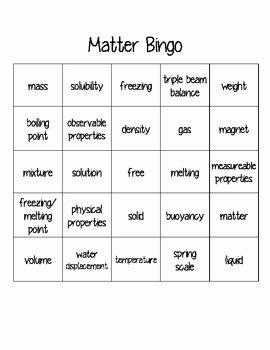 Properties Of Matter Worksheet Elegant Physical Properties Of Matter Bingo by Teach with Jackie