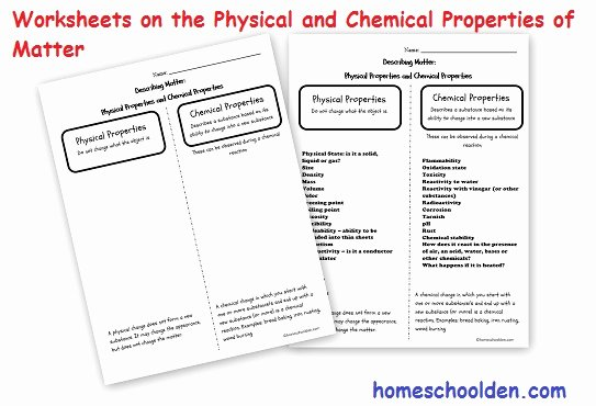 Properties Of Matter Worksheet Elegant Physical Properties Of Matter Chemical Properties Of