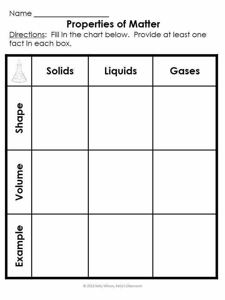 Properties Of Matter Worksheet Fresh Science the Properties Of Matter Kelly S Classroom
