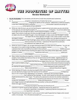 Properties Of Matter Worksheet Inspirational Properties Of Matter Review Worksheet Editable by