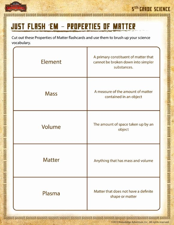 Properties Of Matter Worksheet Lovely Just Flash 'em – Properties Of Matter View Printable