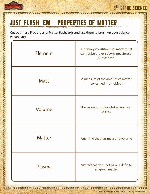 Properties Of Matter Worksheet Lovely Just Flash 'em – Properties Of Matter View Printable