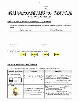 Properties Of Matter Worksheet Luxury Properties Of Matter Powerpoint Worksheet Editable by