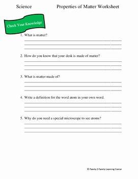 Properties Of Matter Worksheet Luxury Properties Of Matter Worksheet by Family 2 Family Learning