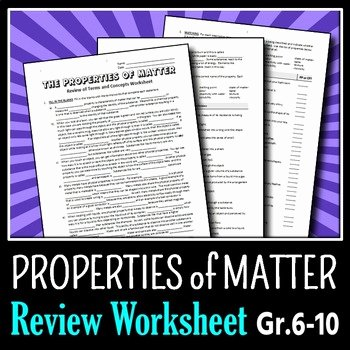 Properties Of Matter Worksheet New Properties Of Matter Review Worksheet Editable by