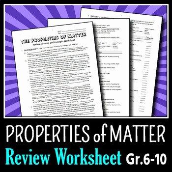 Properties Of Matter Worksheet New Properties Of Matter Review Worksheet Editable by