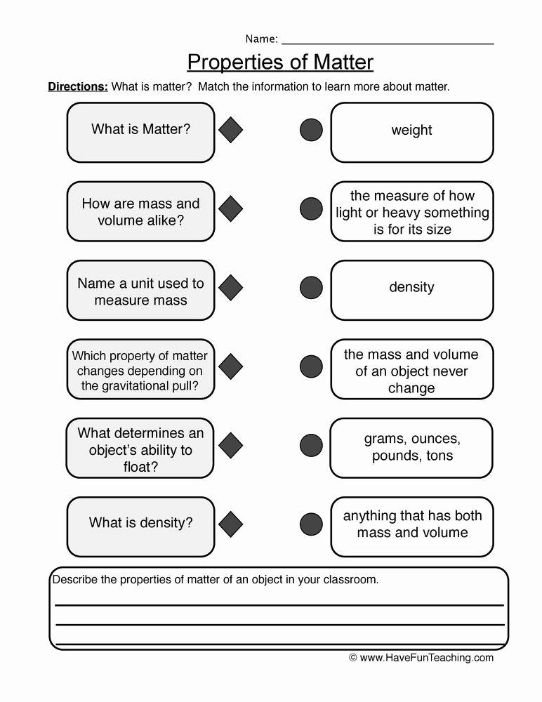 Properties Of Matter Worksheet Unique Properties Of Matter Worksheet 2