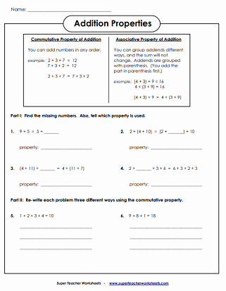 Properties Of Numbers Worksheet Fresh Addition Worksheets associative Mutative & Identity