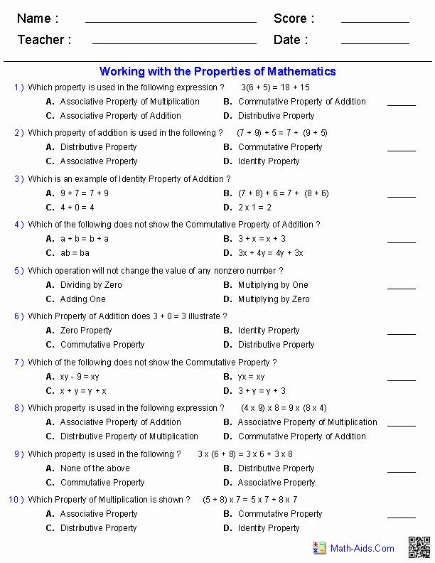 Properties Of Numbers Worksheet Fresh Properties Worksheets