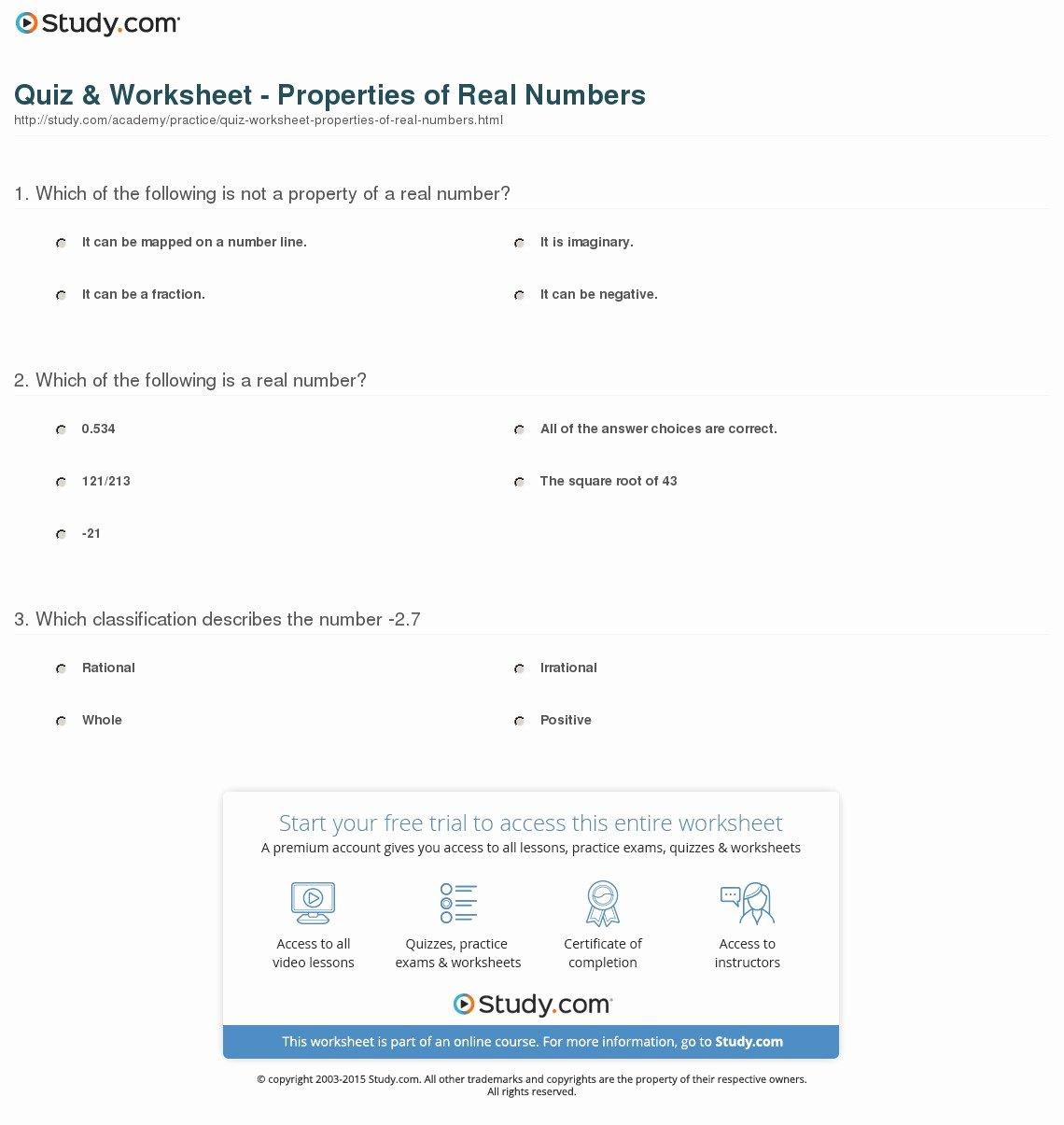 Properties Of Numbers Worksheet Luxury Quiz & Worksheet Properties Of Real Numbers