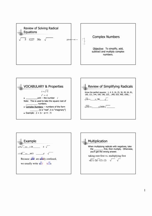 Properties Of Numbers Worksheet New Plex Numbers Vocabulary & Properties Worksheet