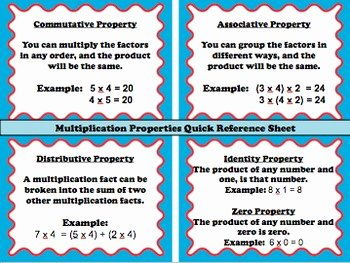 Properties Of Operations Worksheet Awesome Multiplication Properties Quick Reference Sheet Free by