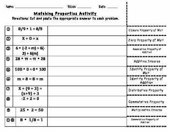 Properties Of Operations Worksheet Awesome Properties Of Real Numbers Matching Activity
