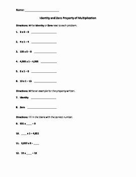 Properties Of Operations Worksheet Elegant Identity and Zero Properties Of Multiplication Worksheet