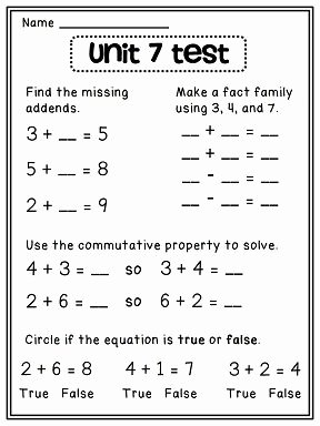 Properties Of Operations Worksheet Inspirational First Grade Math Unit 7 First Grade Friends