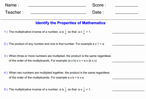 Properties Of Operations Worksheet Inspirational Math Worksheets for 3rd Grade