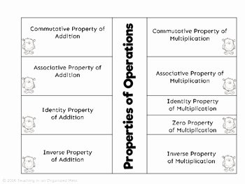 Properties Of Operations Worksheet Lovely Properties Of Operations Notes by Teaching In An organized