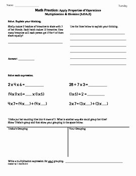 Properties Of Operations Worksheet Unique 3 Oa 5 Apply Properties Of Operations 3rd Grade Math