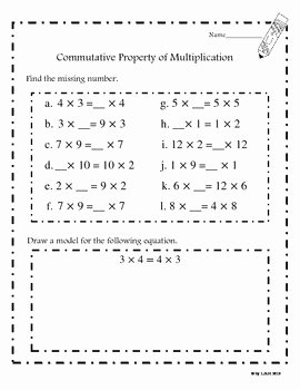 Properties Of Operations Worksheet Unique Mutative Property Of Multiplication Worksheets Mon