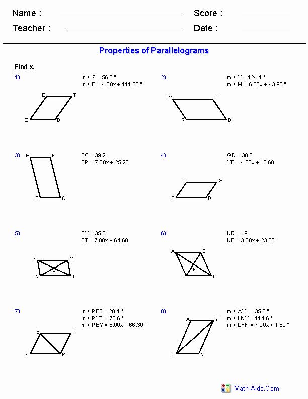 Properties Of Parallelograms Worksheet Awesome Geometry Worksheets