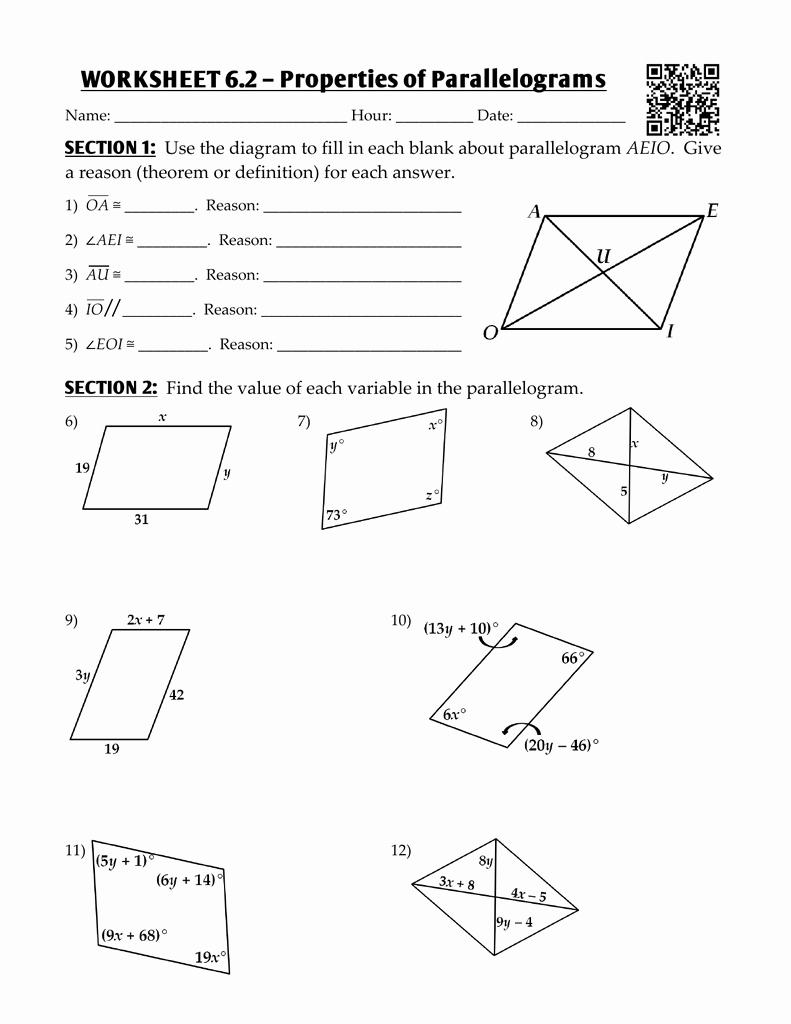 Properties Of Parallelograms Worksheet Awesome Worksheet 6 2 – Properties Of Parallelograms