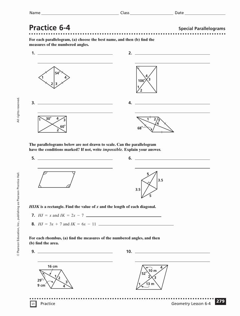 Properties Of Parallelograms Worksheet Beautiful Practice 6 2 Properties Parallelograms Worksheet