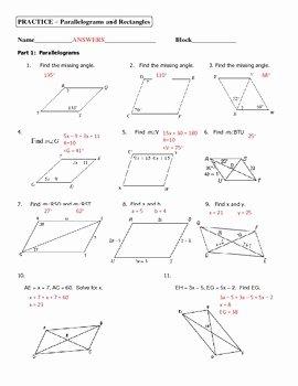 Properties Of Parallelograms Worksheet Best Of Geometry Unit 5 Parallelograms and Rectangles Practice