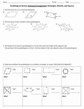 Properties Of Parallelograms Worksheet Elegant Parallelogram Review Worksheet by Ms B S Math Warehouse