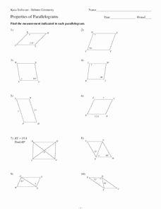 Properties Of Parallelograms Worksheet Elegant Properties Of Parallelograms Worksheet for 10th Grade
