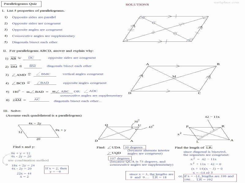 Properties Of Parallelograms Worksheet Inspirational Parallelogram Worksheet