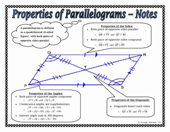 Properties Of Parallelograms Worksheet Lovely Quadrilaterals Properties Of Parallelograms Notes and