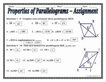 Properties Of Parallelograms Worksheet Luxury Quadrilaterals Properties Of Parallelograms Notes and