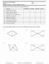 Properties Of Parallelograms Worksheet Unique Free Parallelograms Worksheets Printables