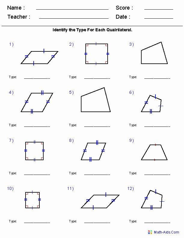 Properties Of Quadrilateral Worksheet Awesome Properties Quadrilaterals Worksheet