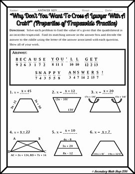 Properties Of Quadrilateral Worksheet Best Of Quadrilaterals Properties Of Trapezoids Riddle Worksheet