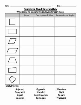 Properties Of Quadrilateral Worksheet Elegant Describing Quadrilaterals Math Skills