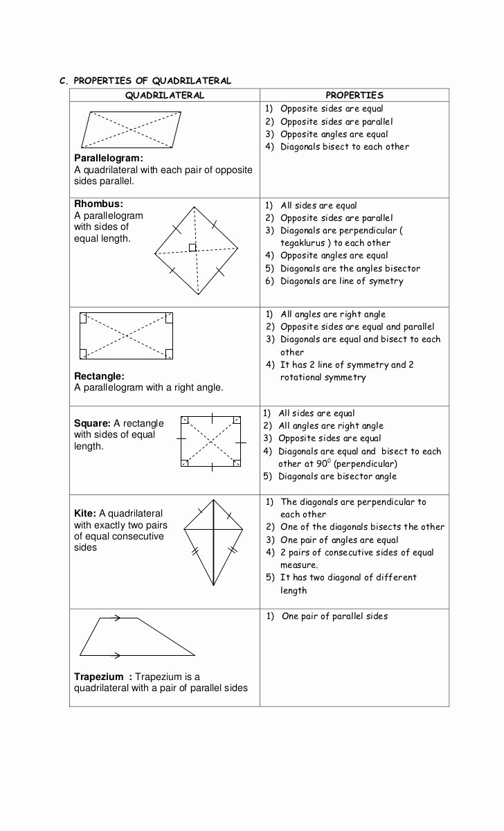 Properties Of Quadrilateral Worksheet Inspirational Diagonals Worksheet Year 6
