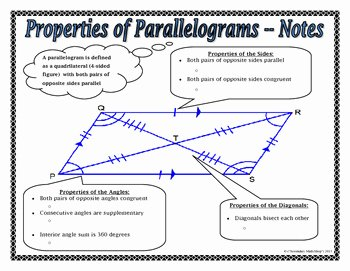 Properties Of Quadrilateral Worksheet Luxury Quadrilaterals Properties Of Parallelograms Notes and