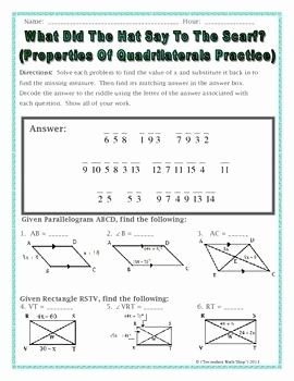 Properties Of Quadrilateral Worksheet Unique Geometry Properties Of Quadrilaterals Riddle Worksheet