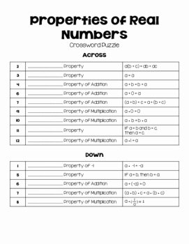 Properties Of Real Numbers Worksheet Best Of Properties Of Real Numbers Crossword Puzzle by Lisa