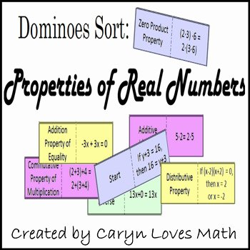 Properties Of Real Numbers Worksheet Elegant Properties Of Real Numbers sort Dominos Matching Review