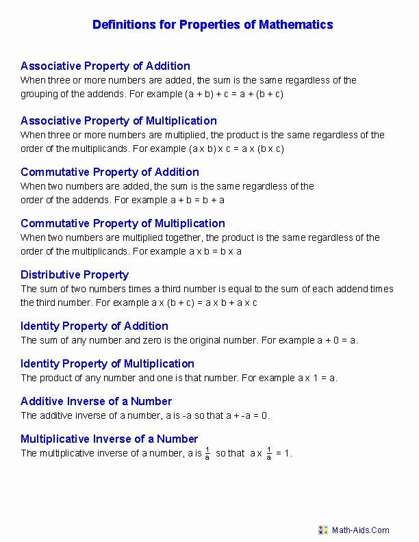 Properties Of Real Numbers Worksheet Elegant Properties Real Numbers Worksheet