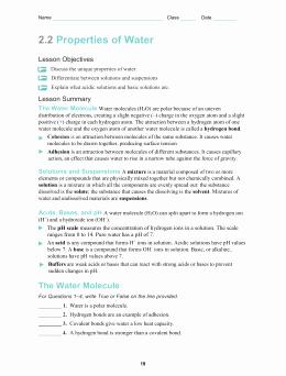 Properties Of Water Worksheet Answers Luxury Properties Water Worksheet Answers