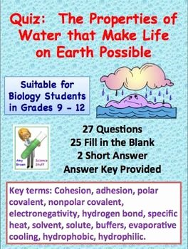 Properties Of Water Worksheet Biology Awesome Properties Of Water that Make Life On Earth Possible Quiz