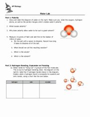 Properties Of Water Worksheet Biology Best Of Water Lab Ap Biology Water Lab Part 1 Polarity 1 Draw